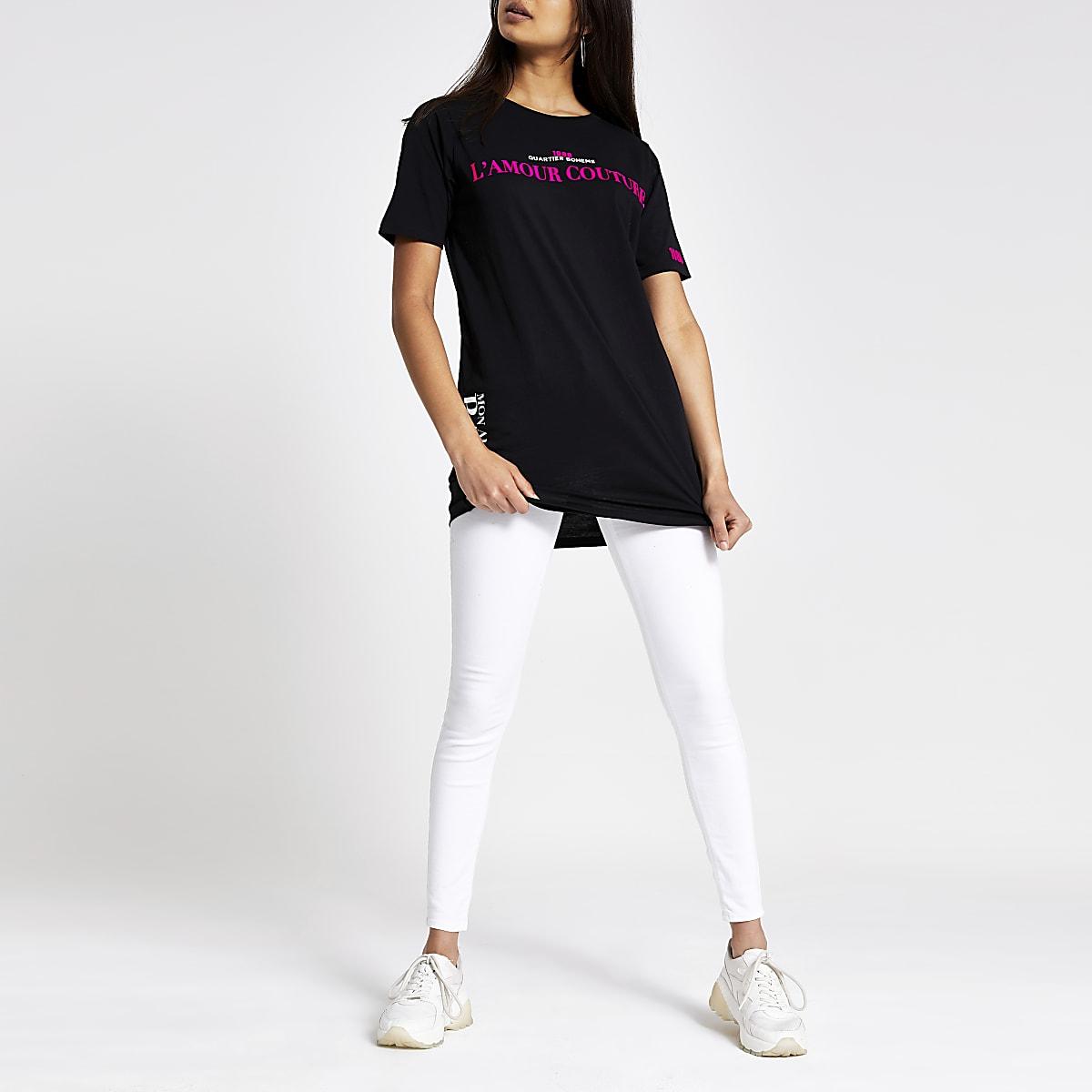 Schwarzes T-Shirt mit Neon-Print