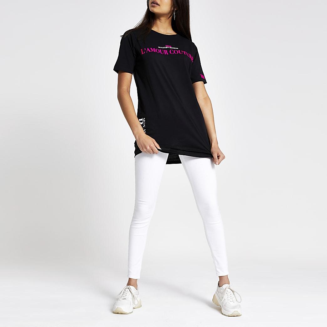 Zwart jumbo T-shirt met neonprint
