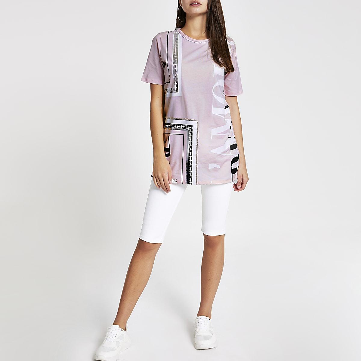 Roze verfraaid T-shirt met print en diamantjes
