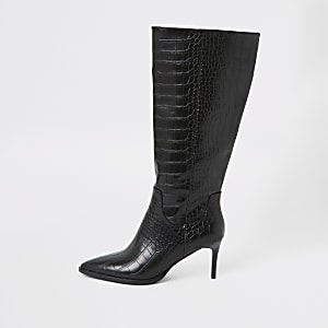 Zwarte kniehoge puntige laarzen met krokodillen-reliëf