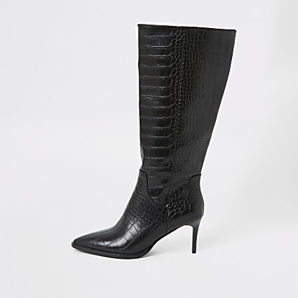 Black croc embossed knee high pointed boots