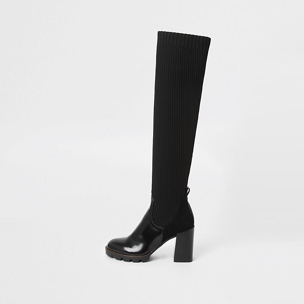 Zwarte geribbelde over-de-knie sock boots