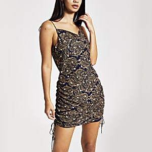 Gold print ruched slip dress