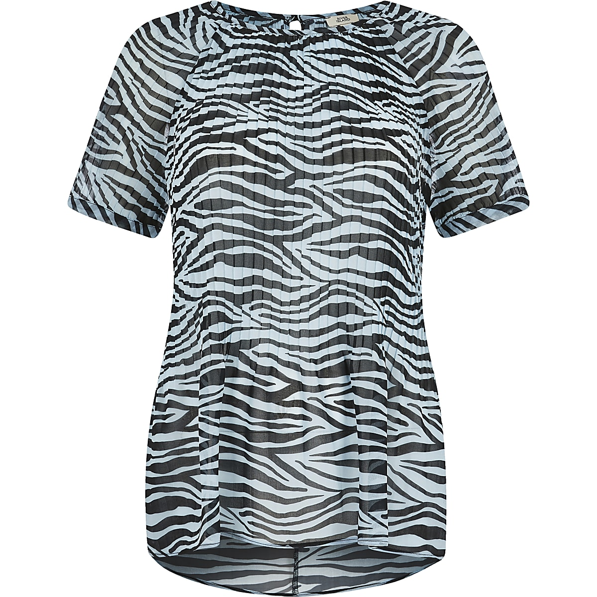 6a573dd450 Blue zebra print plisse top - T-Shirts - Tops - women