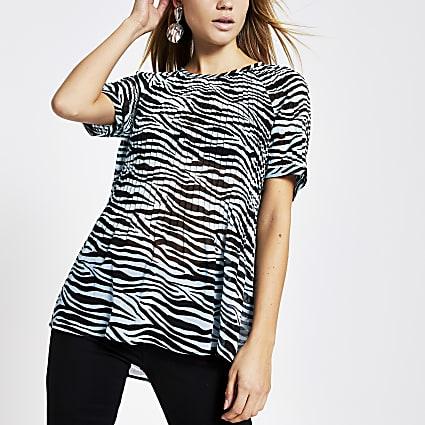 Blue zebra print plisse top
