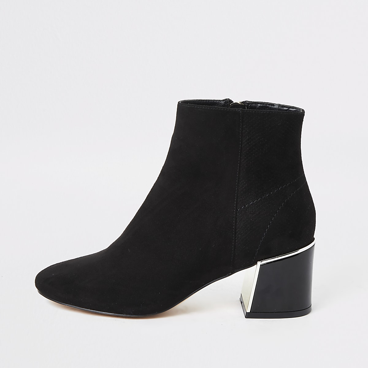 Black faux suede block heel wide fit boots