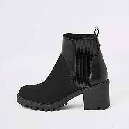 Black faux leather chunky chelsea boots