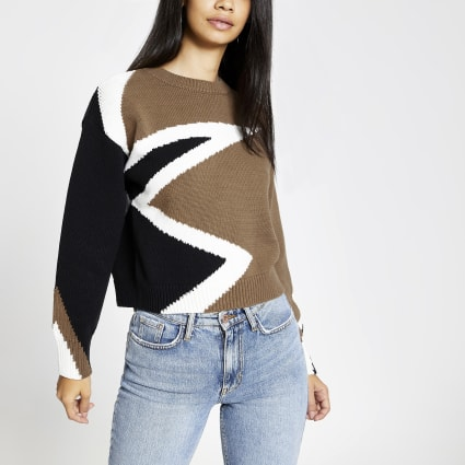 Khaki star block print knitted jumper