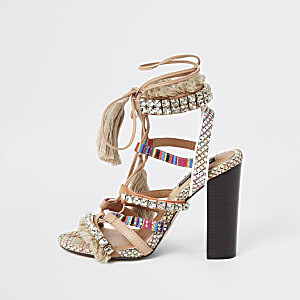 Beige embellished fringe tie up heel sandals