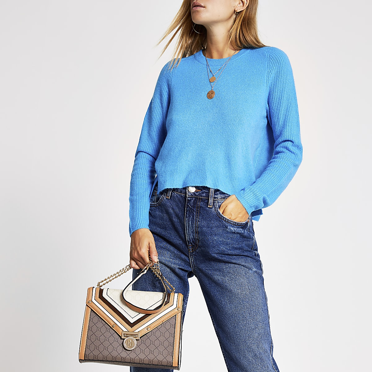 Blue long sleeve knitted jumper