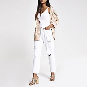 Petite – Weiße Mom-Jeans im Used-Look mit hohem Bund