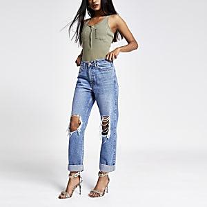 Petite – Dunkelblaue Mom-Jeans im Used-Look