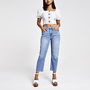 Petite – Mittelblaue Straight Jeans mit Fransensaum