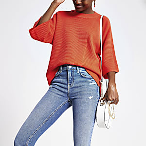 Orange knitted crew neck top