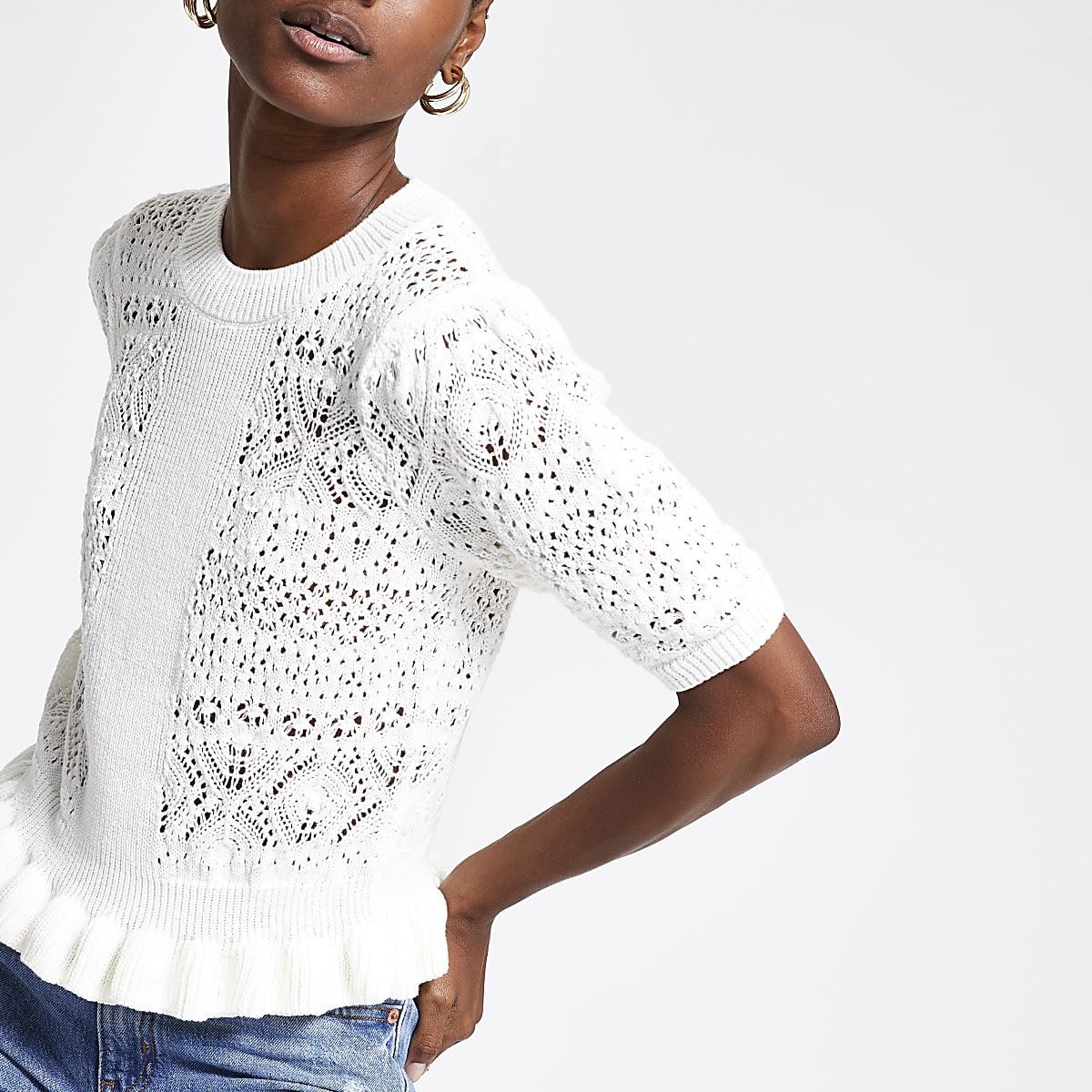 White textured knitted top