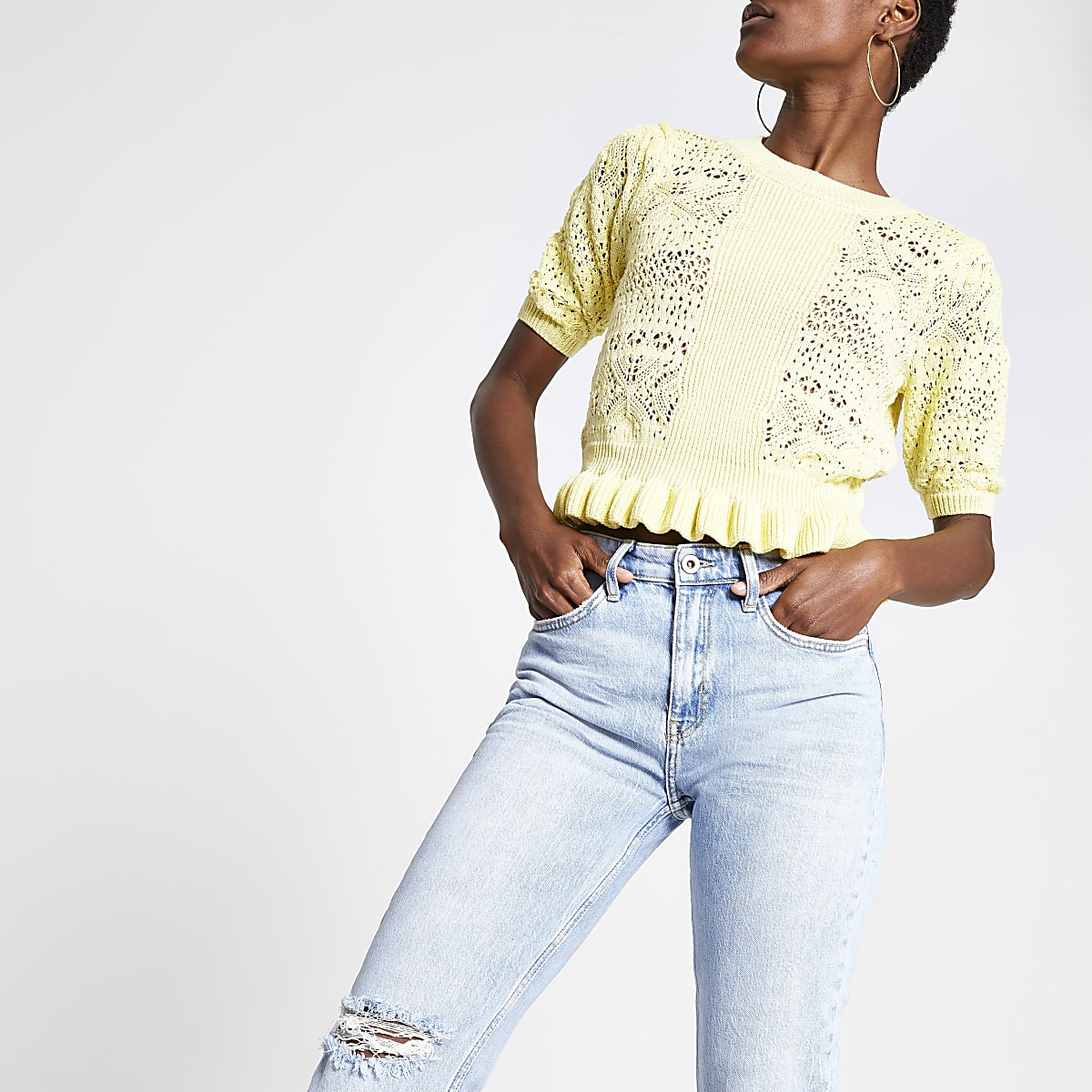 Yellow textured knitted top