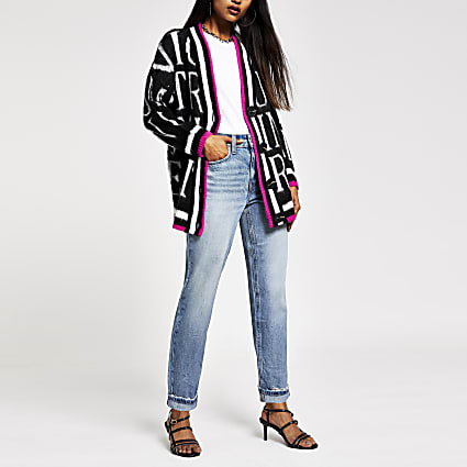 Petite black knitted word print cardigan