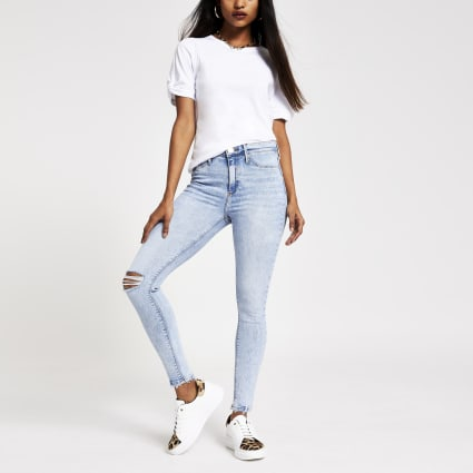 Petite light blue Molly ripped jeggings