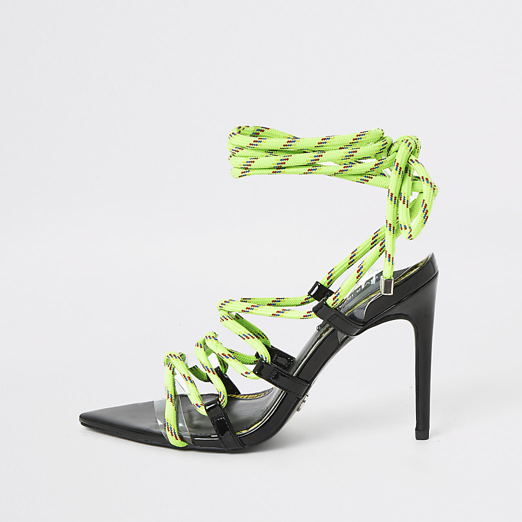 Neon green lace-up skinny heel sandal