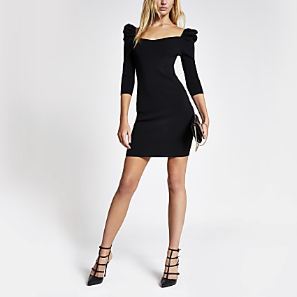 Black long puff sleeve knitted bodycon dress