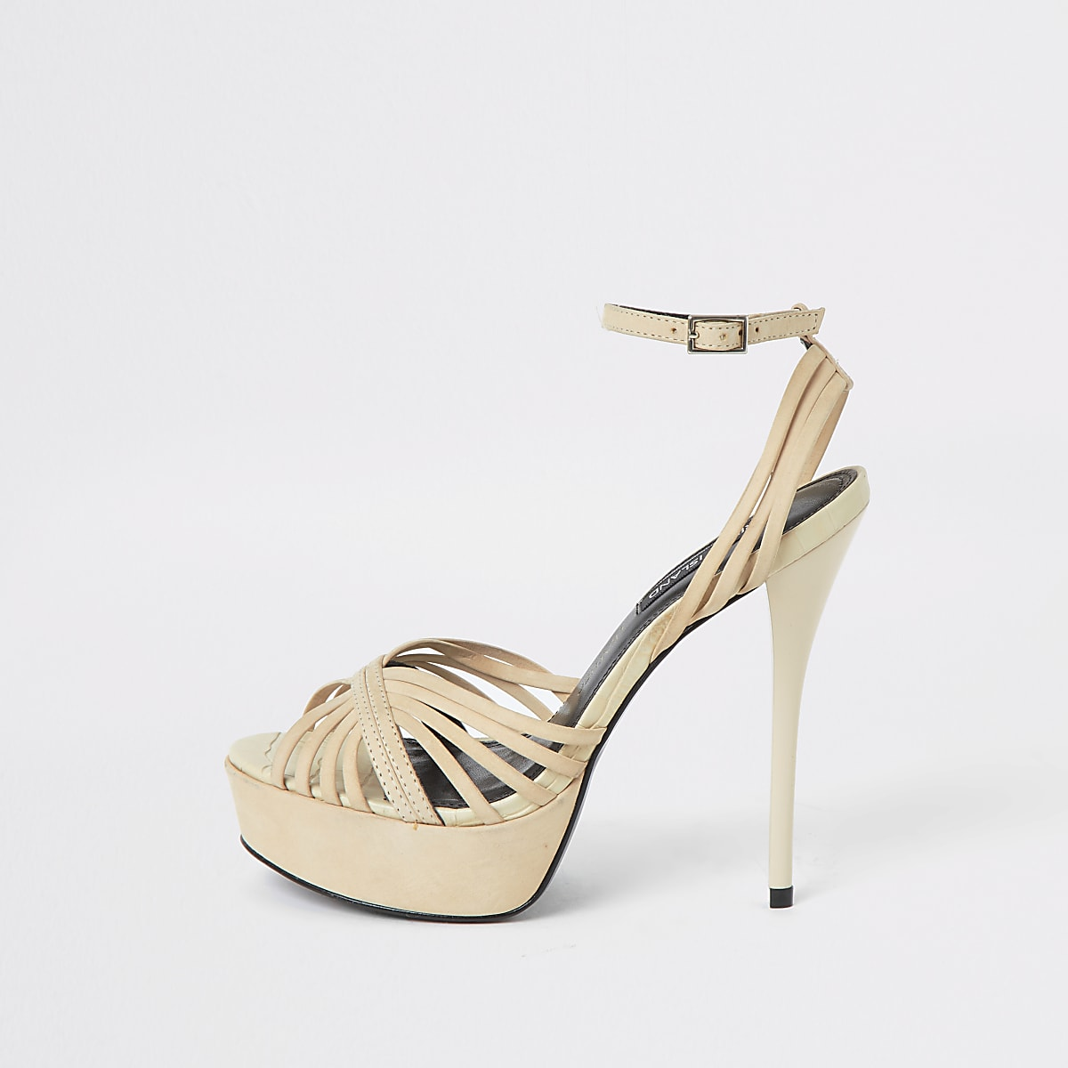 Cream leather strappy platform heel sandal