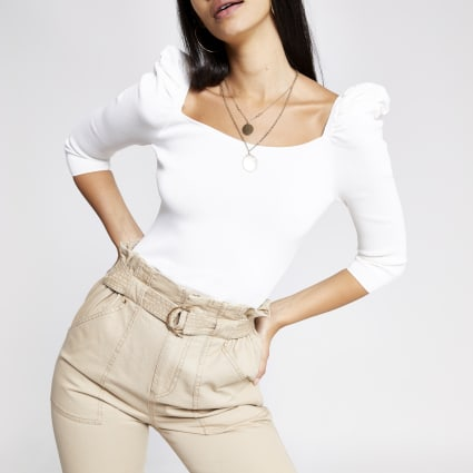 Cream puff sleeve square neck top
