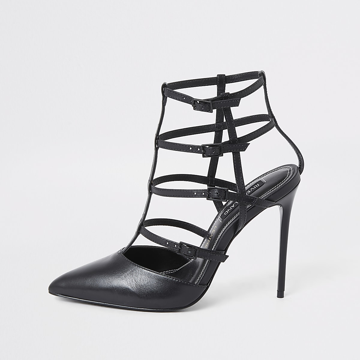 Black caged court shoe