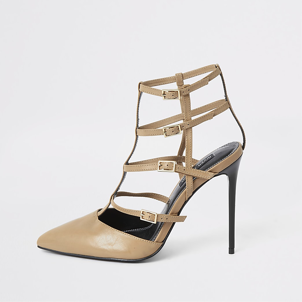 Light brown caged skinny heel court shoe