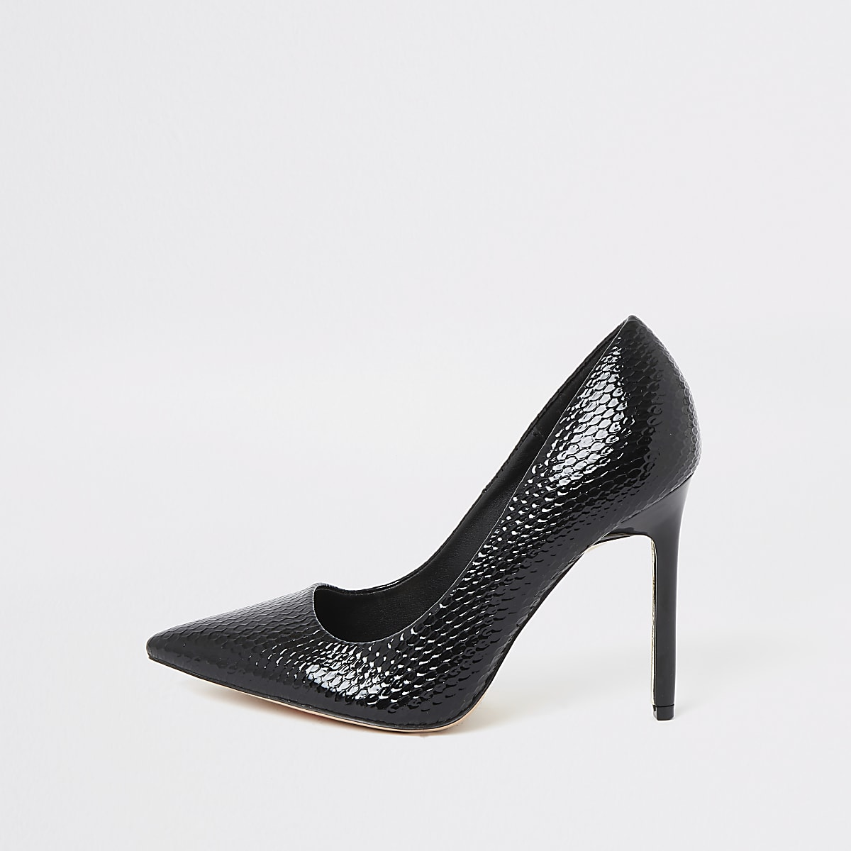 Black wide fit embossed court shoes