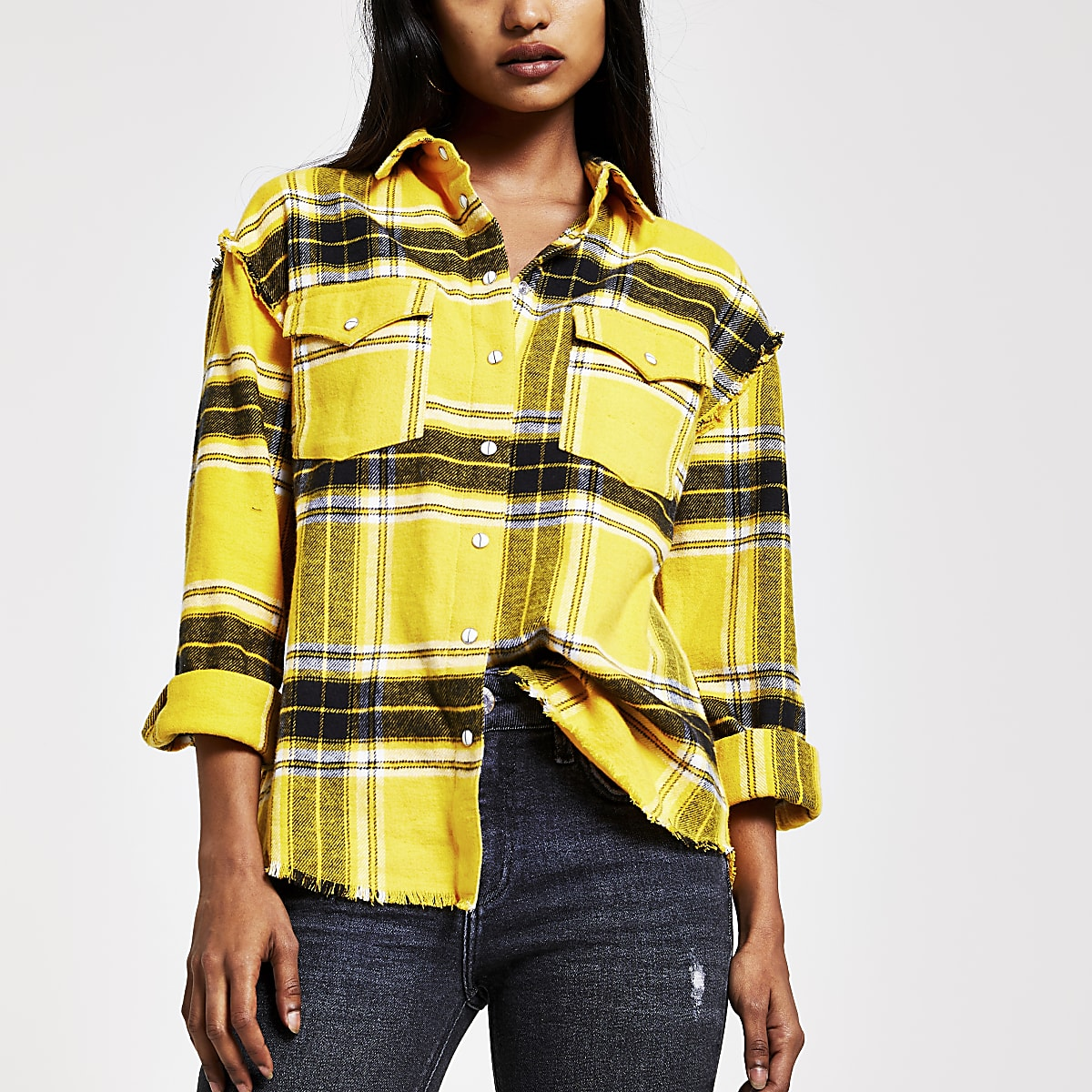 Petite yellow check long sleeve shirt