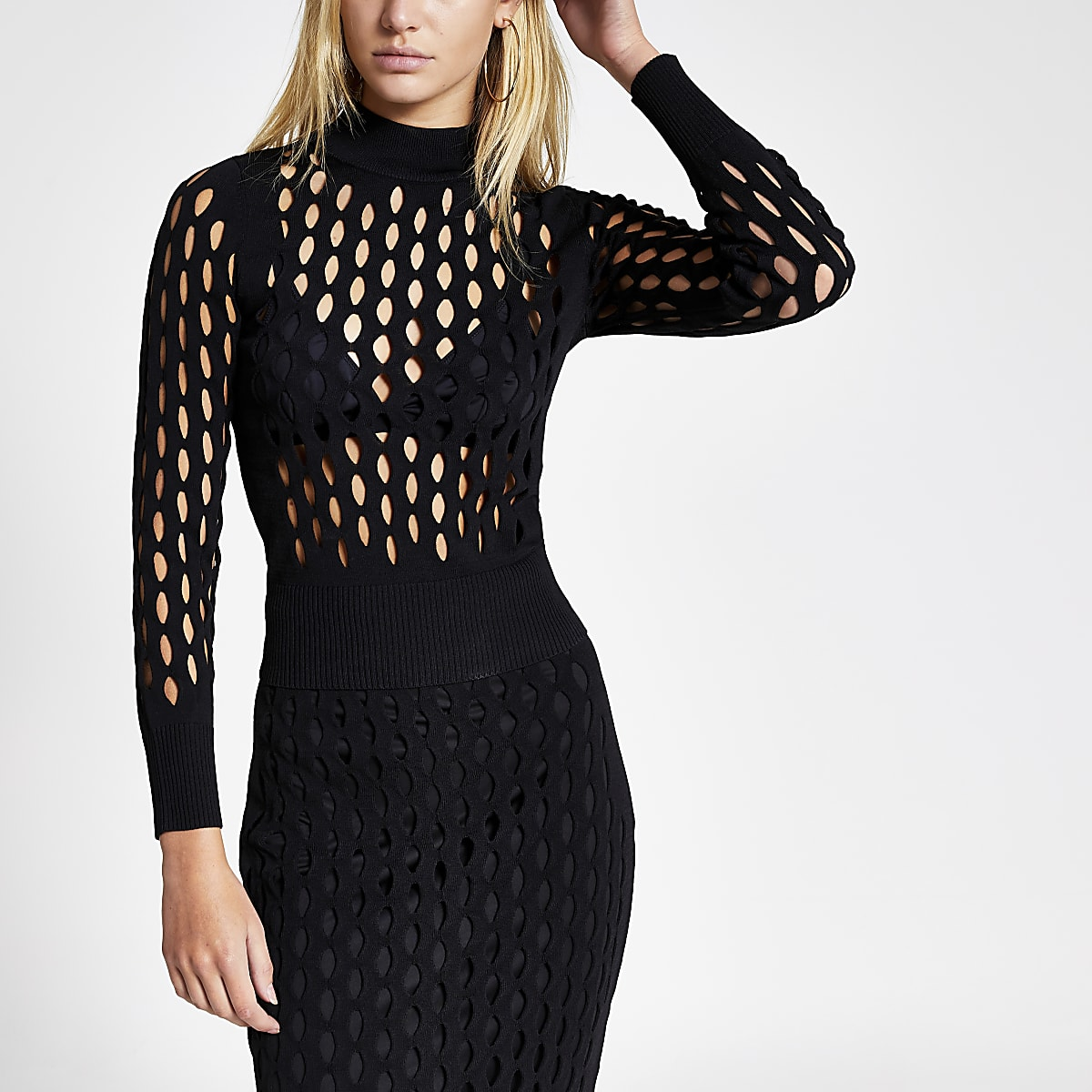 Black mesh fitted long sleeve top
