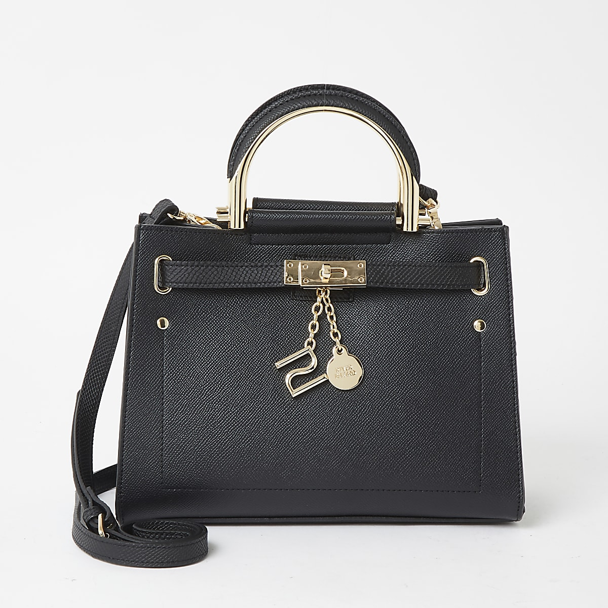 Black padlock front cross body bag