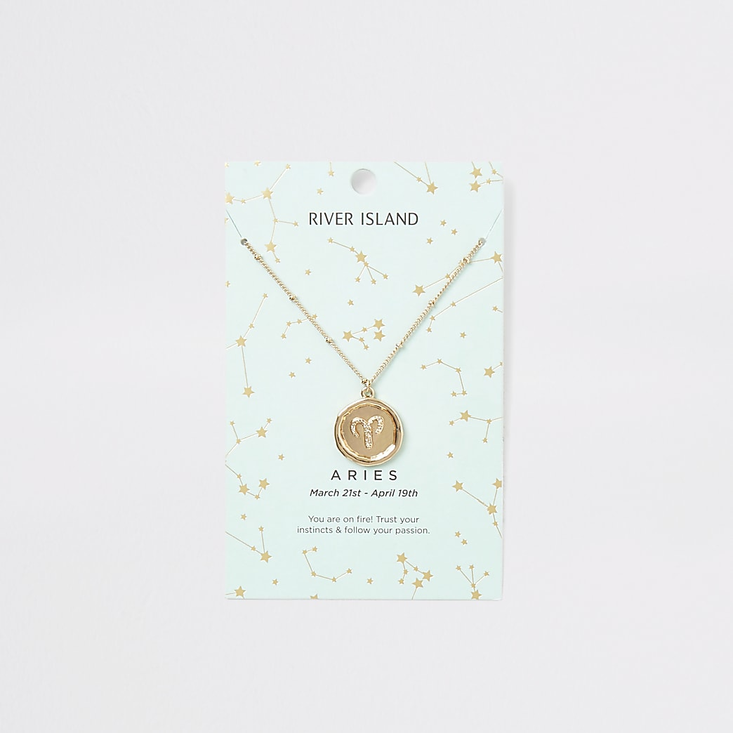 Aries zodiac sign gold colour necklace