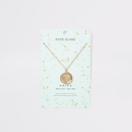 Aries zodiac sign gold colour necklace