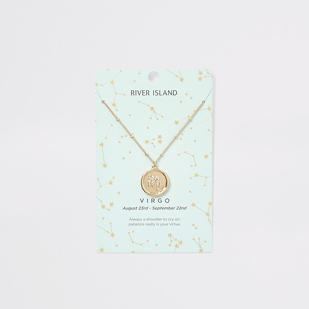 Virgo zodiac sign gold colour necklace