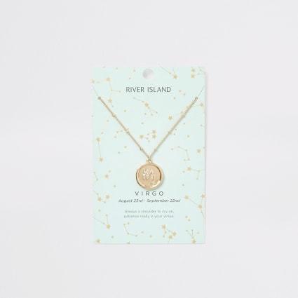 Virgo zodiac sign gold colour necklace