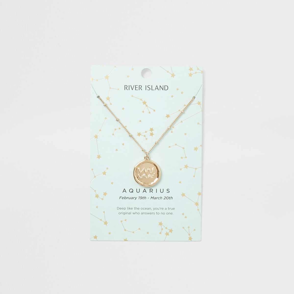 Aquarius zodiac sign gold colour necklace