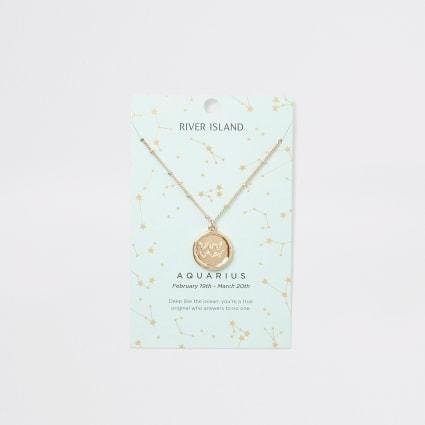 Aquarius zodiac sign gold colour necklace