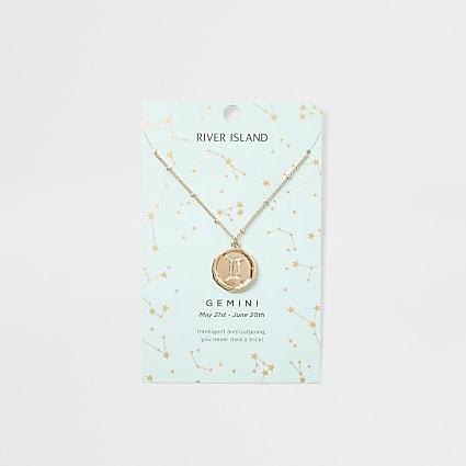Gemini zodiac sign gold colour necklace