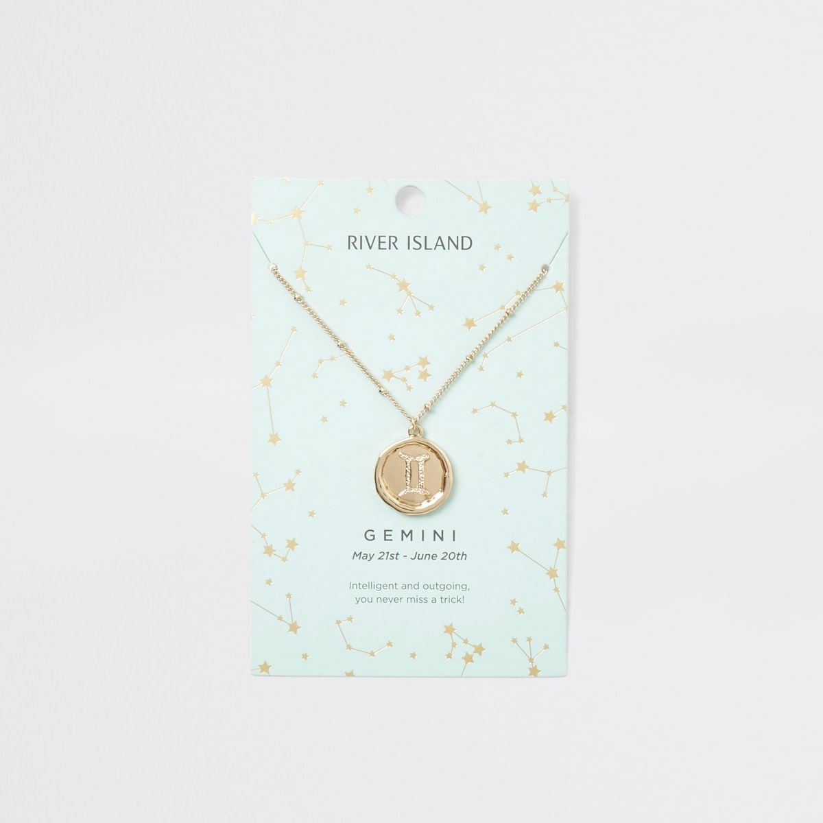 Gemini zodiac sign gold colour necklace