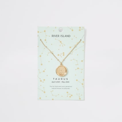 Taurus zodiac sign gold colour necklace