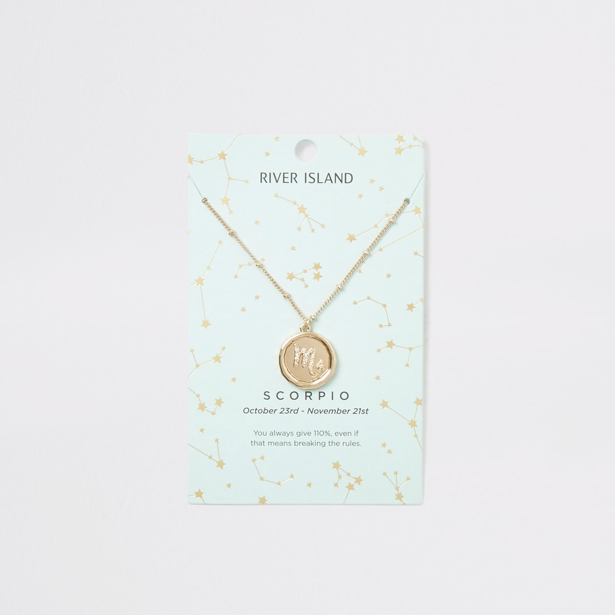 Scorpio zodiac sign gold colour necklace