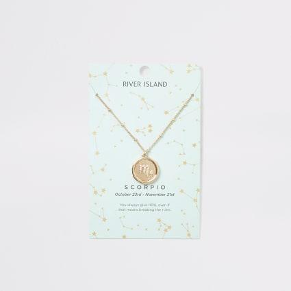 Scorpio zodiac sign gold colour necklace