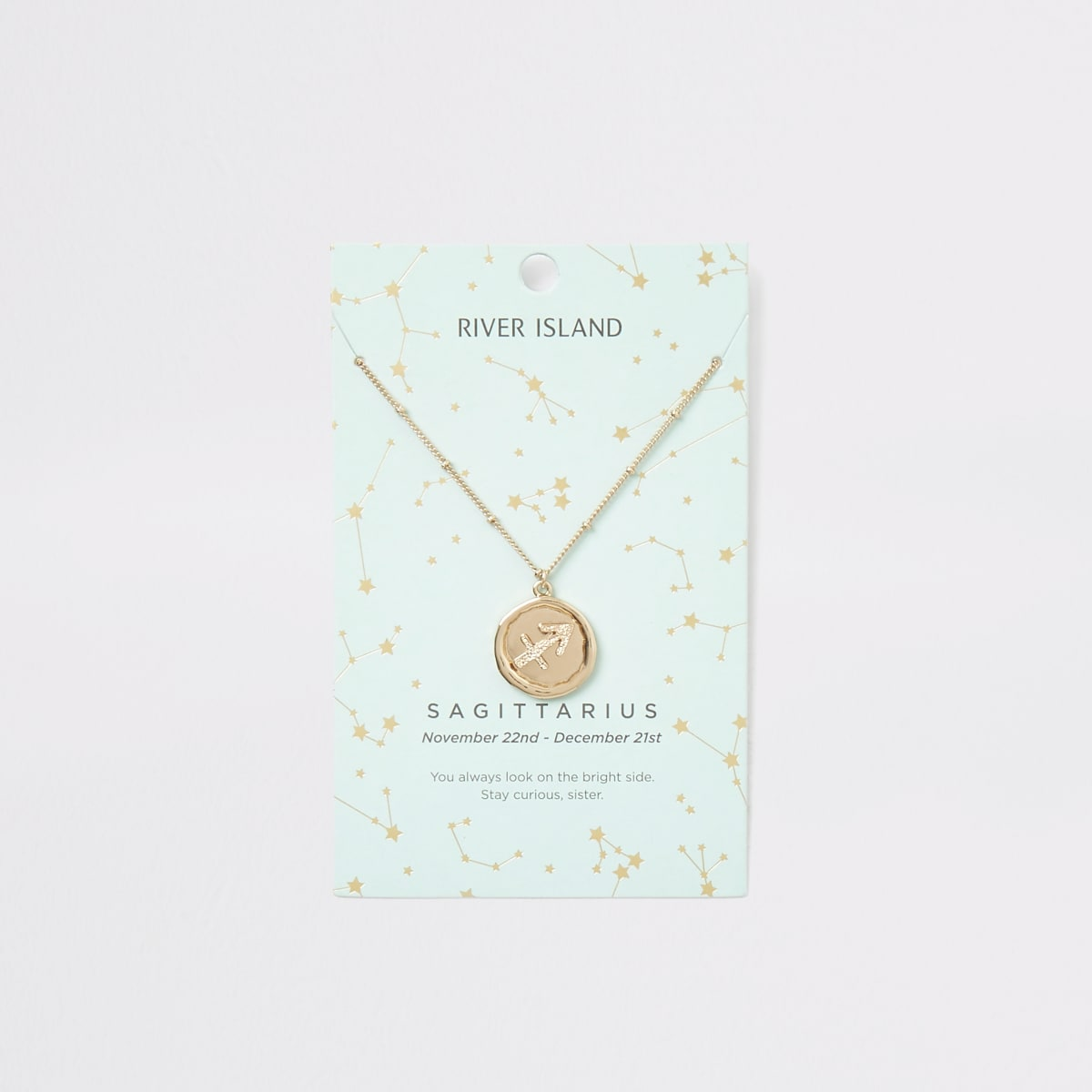 Sagittarius zodiac sign gold colour necklace