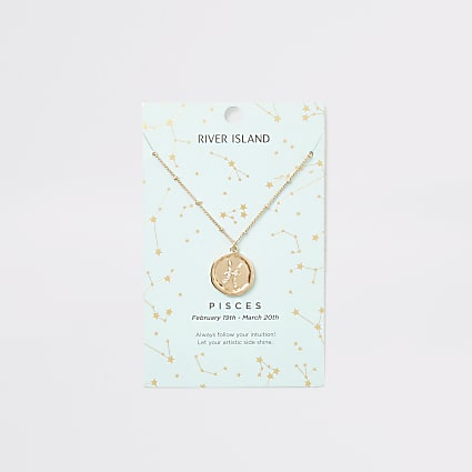 Pisces zodiac sign gold colour necklace