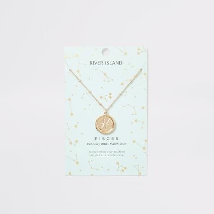 Pisces zodiac sign gold colour necklace
