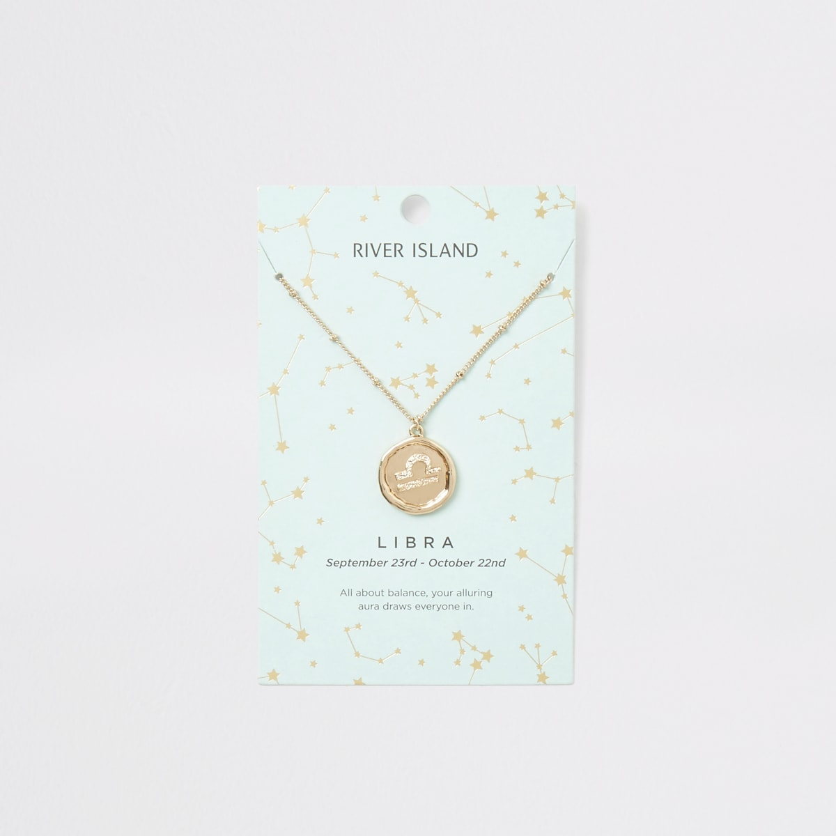 Libra zodiac sign gold colour necklace