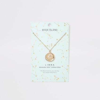 Libra zodiac sign gold colour necklace