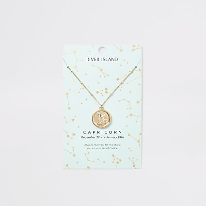 Capricorn zodiac sign gold colour necklace
