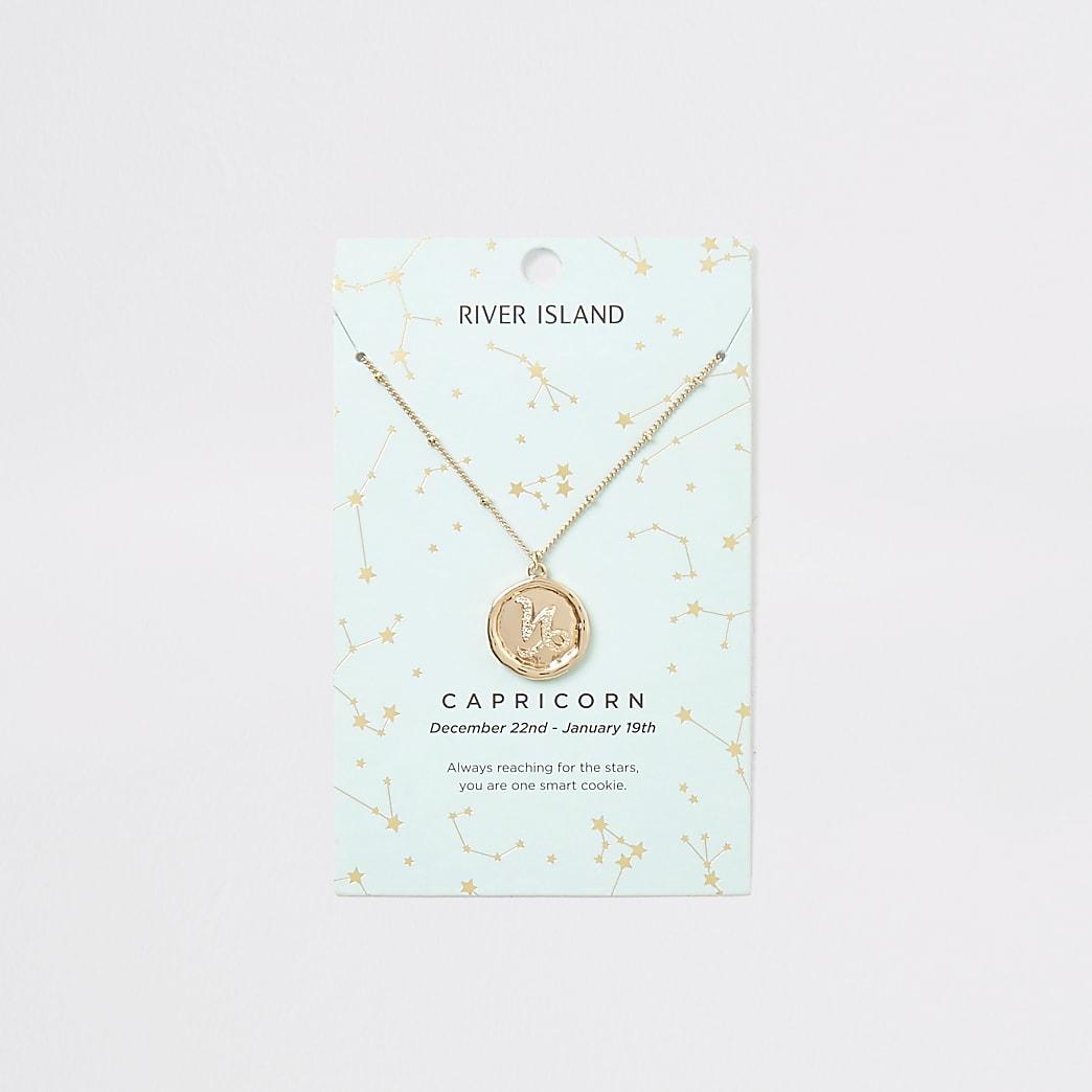 Capricorn zodiac sign gold colour necklace